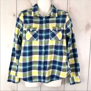 American Eagle Blue & Yellow Plaid Flannel Shirt